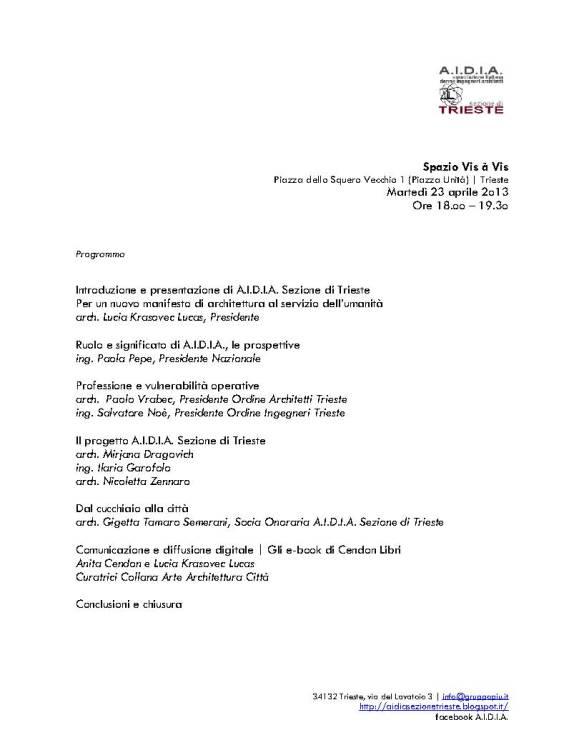 A.I.D.I.A. Sezione di Trieste | 23.o4.2o13 ore 18